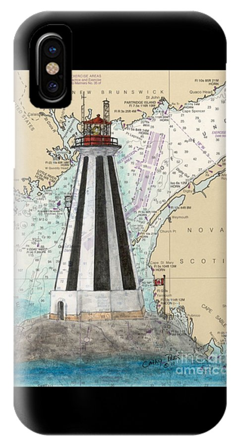 Gannet IPhone X Case featuring the painting Gannet Rock Lighthouse New Brunswick Canada Nautical Chart Art by Cathy Peek
