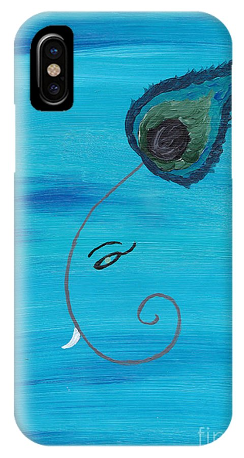Peacock IPhone X Case featuring the painting Ganpati-peacock by Melissa Vijay Bharwani