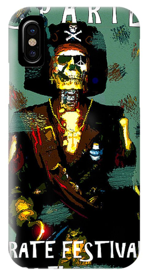 Gasparilla IPhone X Case featuring the painting Gasparilla Pirate Fest 2015 Full Work by David Lee Thompson