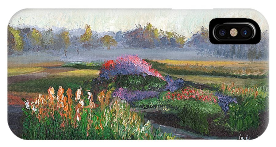 Surrealist IPhone X Case featuring the painting Garden At Sunrise by William Killen