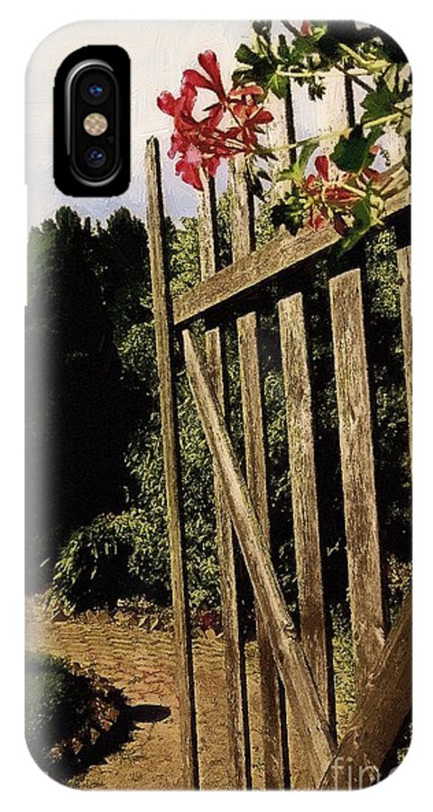 Cobblestones IPhone X Case featuring the painting Garden Gate Welcome by RC DeWinter