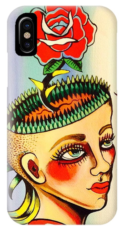 Girl IPhone X Case featuring the painting Garden Head by Britt Kuechenmeister