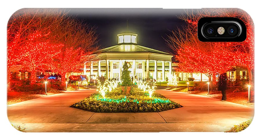 Art IPhone X Case featuring the photograph Garden Night Scene At Christmas Time In The Carolinas by Alex Grichenko
