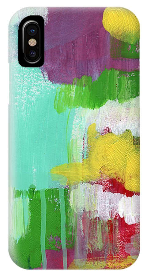 Abstract Painting IPhone X Case featuring the painting Garden Path- Abstract Expressionist Art by Linda Woods