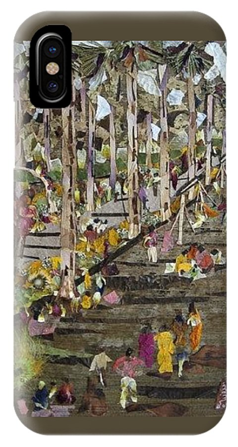 Garden Morning View IPhone X Case featuring the mixed media Garden Picnic by Basant Soni
