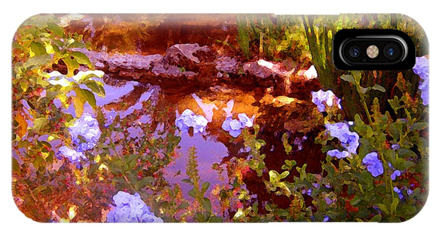 Landscapes IPhone X Case featuring the painting Garden Pond by Amy Vangsgard