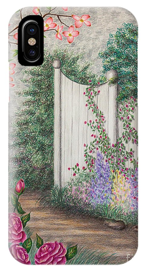 Color Pencil IPhone X Case featuring the drawing Garden Walkway by Lena Auxier