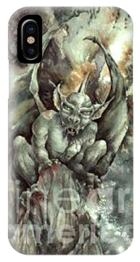 Gargoyle IPhone X Case featuring the painting Gargoyle by Wendy Froshay