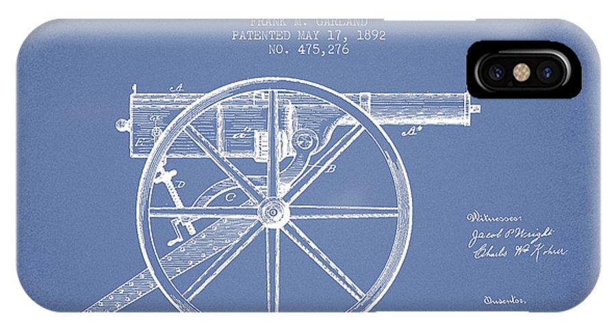 Machine Gun IPhone X / XS Case featuring the digital art Garland Machine Gun Patent Drawing From 1892 - Light Blue by Aged Pixel