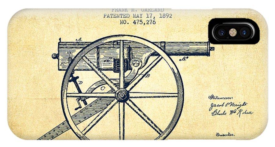 Machine Gun IPhone X / XS Case featuring the digital art Garland Machine Gun Patent Drawing From 1892 - Vintage by Aged Pixel