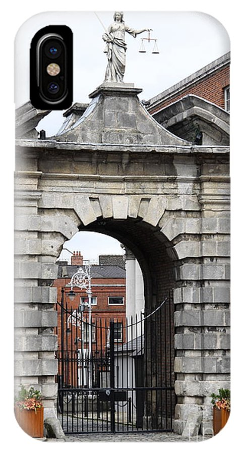 Gate Of Justice IPhone X Case featuring the photograph Gate Of Justice - Dublin Castle by Christiane Schulze Art And Photography