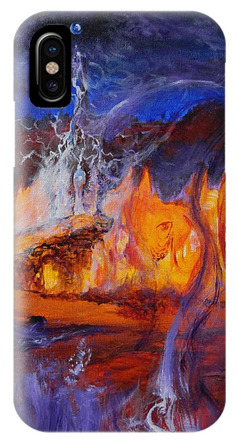 Ennis IPhone X Case featuring the painting Gathering At Samhain's Bluff by Christophe Ennis