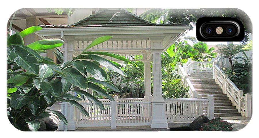Elaine Haakenson IPhone X Case featuring the photograph Gazebo Of The Tropics by Elaine Haakenson