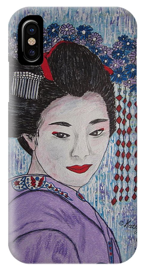 Oriental IPhone Case featuring the painting Geisha Girl by Kathy Marrs Chandler