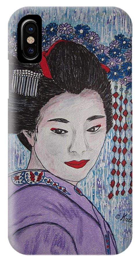 Oriental IPhone X Case featuring the painting Geisha Girl by Kathy Marrs Chandler