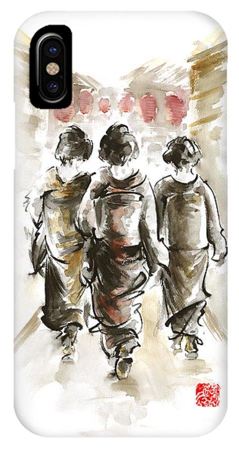 Mariusz Szmerdt IPhone X Case featuring the painting Geisha Japanese Woman Women In Kimono Walking On Street Run Rain Project Design Original Japan Paint by Mariusz Szmerdt