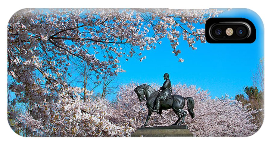 Cherry Blossoms Please Touch Museum Philadelphia Statue General Horse IPhone X Case featuring the photograph General In The Cherry Blossoms by Alice Gipson