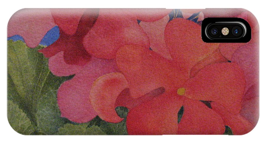 Florals IPhone X Case featuring the painting Generium by Mary Ellen Mueller Legault