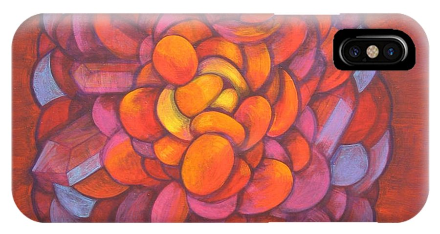 Abstract IPhone X Case featuring the painting Genetically Modified by J W Kelly