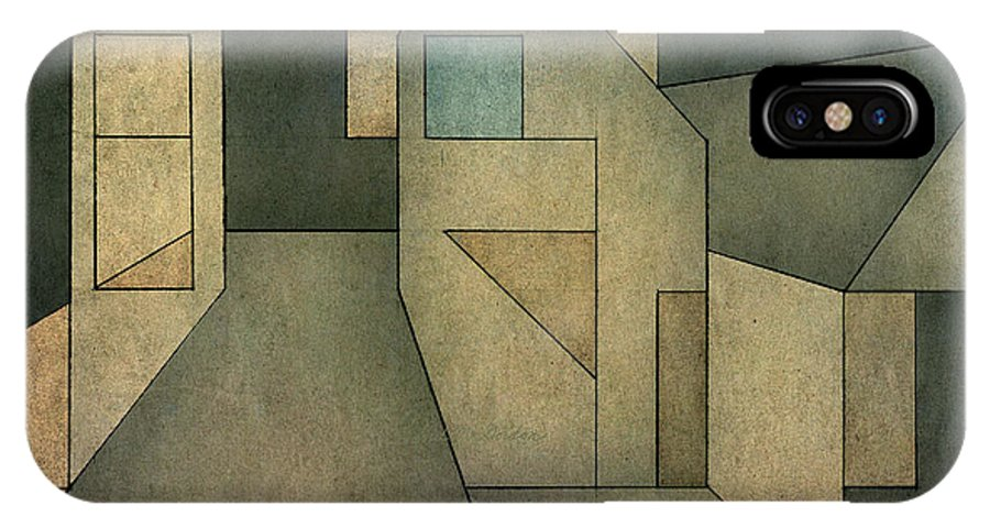 Geometric IPhone X Case featuring the digital art Geometric Abstraction II by David Gordon