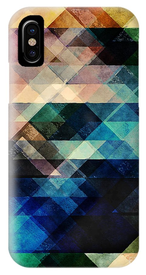 Texture IPhone X / XS Case featuring the digital art Geometric Textural Colorations by Phil Perkins
