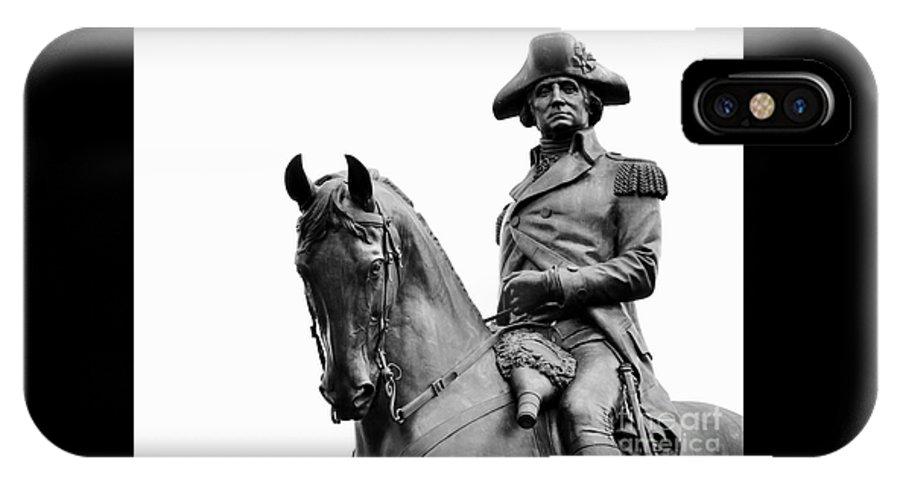 George Washington IPhone X Case featuring the photograph George Washington Statue Boston Ma by Staci Bigelow