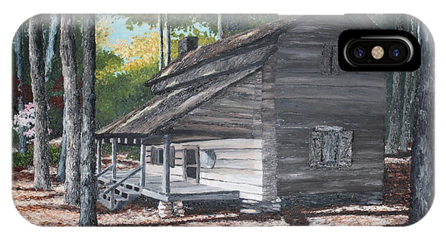Georgia. Cabin IPhone X Case featuring the painting Georgia Cabin In The Woods by Beth Parrish
