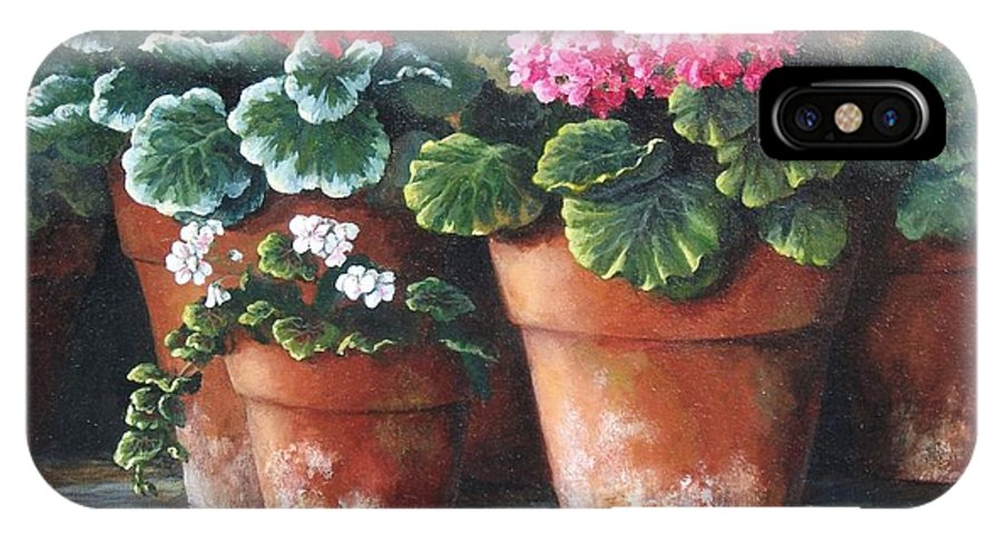 Still Life IPhone X Case featuring the painting Geranium Party by Dianna Kilgore