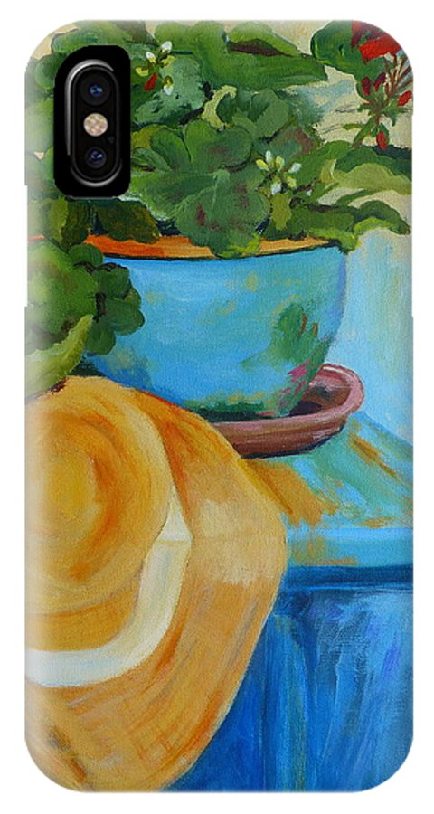 Still Life IPhone X Case featuring the painting Geraniums And A Hat by Deborah Carroll