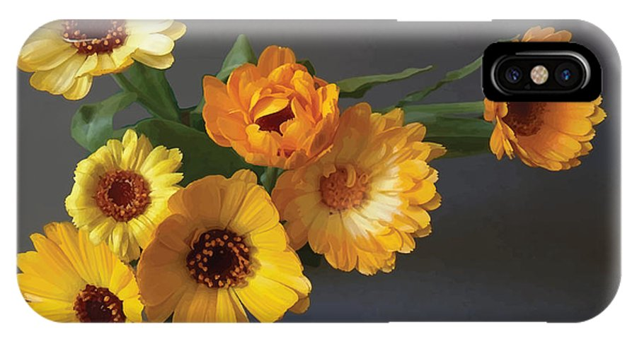 Arrangement IPhone X Case featuring the digital art Gerbera bouquet by Adrian Bud