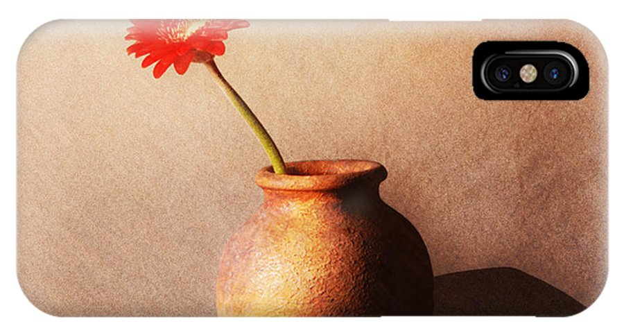 Still Life IPhone X Case featuring the photograph Gerbera In Stone Vase by Malcolm Bumstead