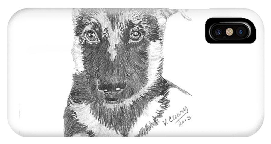 German Shepherd IPhone X Case featuring the drawing German Shepherd Pup by Virginia Cleary