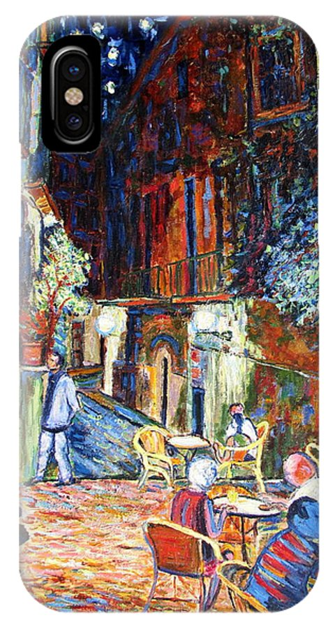 Impressionsist Spain Cafe Night Stars Van Gogh IPhone X Case featuring the painting Gerona by Rob White
