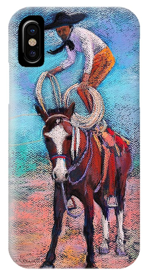 Vaquaro IPhone X Case featuring the painting Get Ready by M Diane Bonaparte