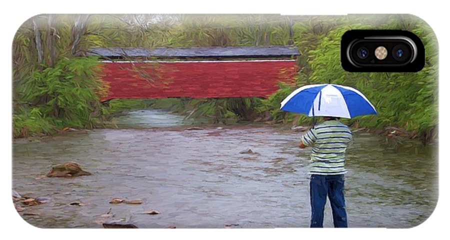 Red Covered Bridge IPhone X Case featuring the photograph Getting The Shot by Alice Gipson