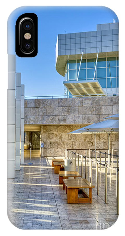 Getty Center IPhone X Case featuring the photograph Getty Center Tram Waiting Area Brentwood Ca by David Zanzinger