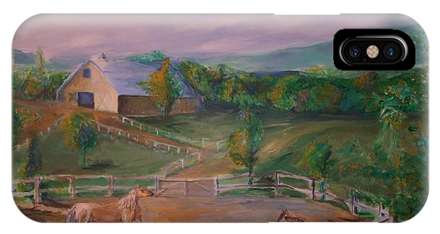 Pennsylvania IPhone Case featuring the painting Gettysburg Farm by Eric Schiabor