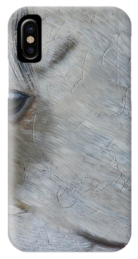 Horse IPhone X Case featuring the painting Ghost by Diana Mahnke