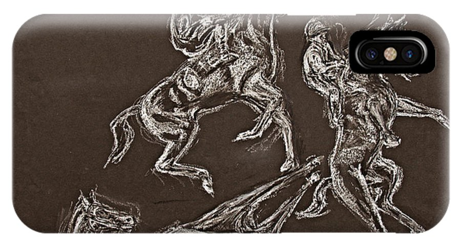 Rearing Horse IPhone X Case featuring the drawing Ghost Riders In The Sky by Tom Conway