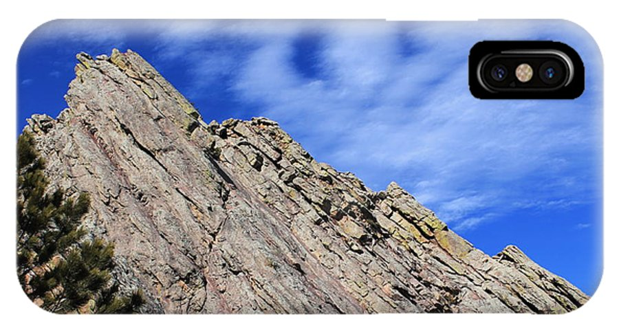 Boulder IPhone X Case featuring the photograph Ghostly Flatirons by Tonya Hance