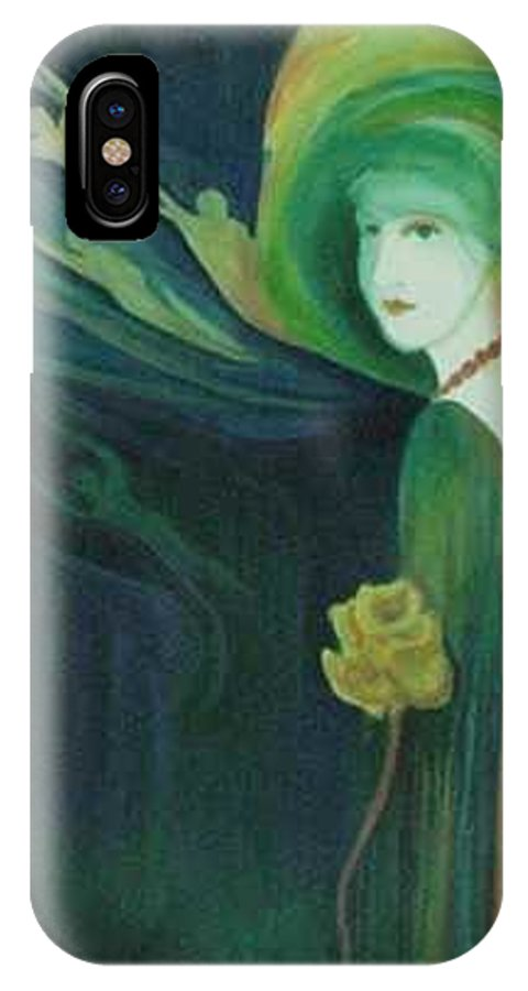 Women IPhone X Case featuring the painting My Haunted Past by Carolyn LeGrand