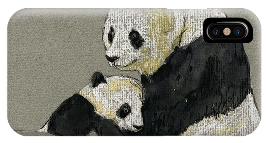 Giant IPhone X Case featuring the painting Giant Panda by Juan Bosco
