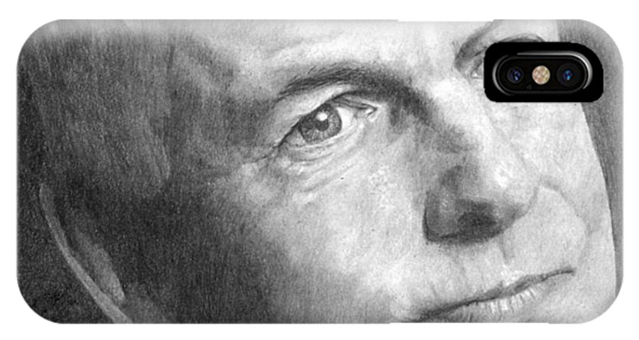 People IPhone X Case featuring the drawing Gibbs by Laura Rohlfing