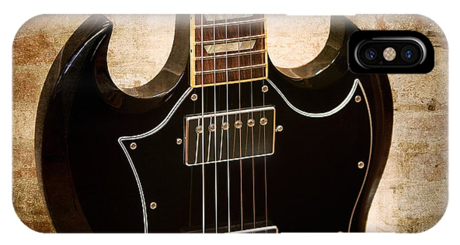 Guitar IPhone X Case featuring the photograph Gibson Sg Standard Brick by John Cardamone