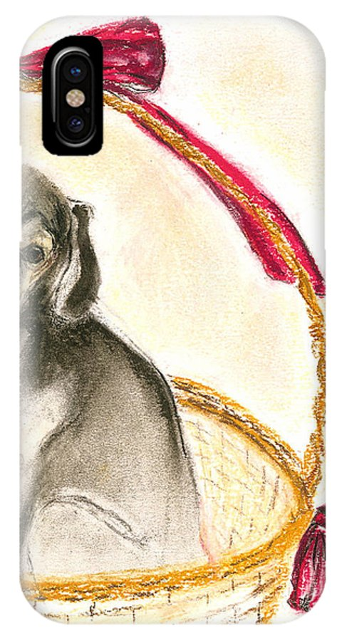 Dog IPhone Case featuring the drawing Gift Basket by Cori Solomon