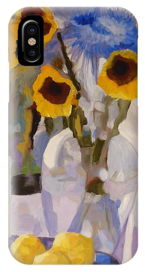 Still-life IPhone X Case featuring the painting Gifts Of The Sun by Susan Duda