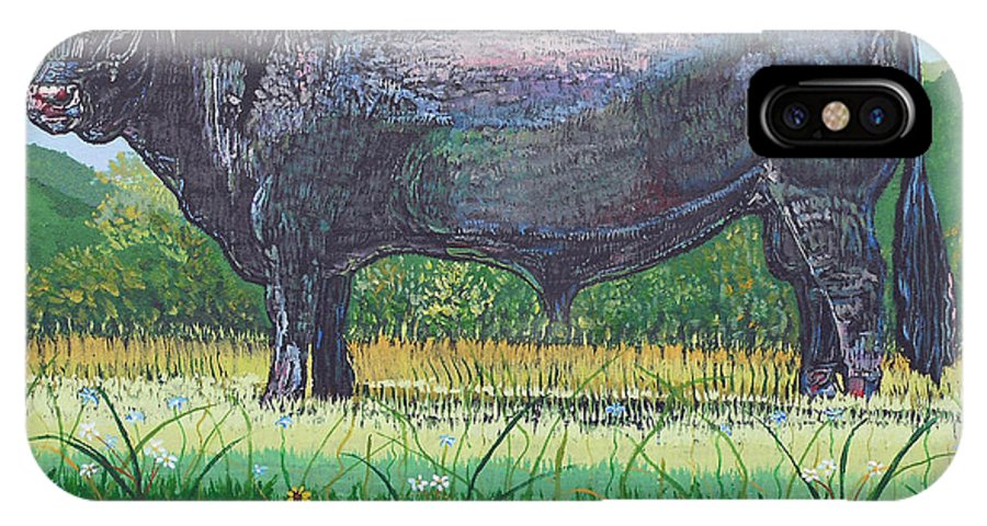 Bull IPhone X Case featuring the painting Gillam's Bull by Sandra Wilson