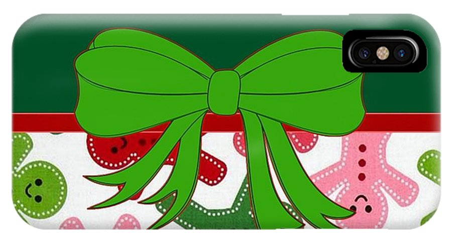 Holiday IPhone X Case featuring the digital art Gingerbread Men by Florene Welebny