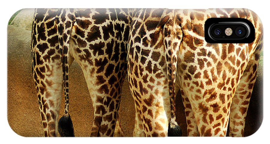 Hungry IPhone X Case featuring the photograph Giraffe Butts 1 by Micah May