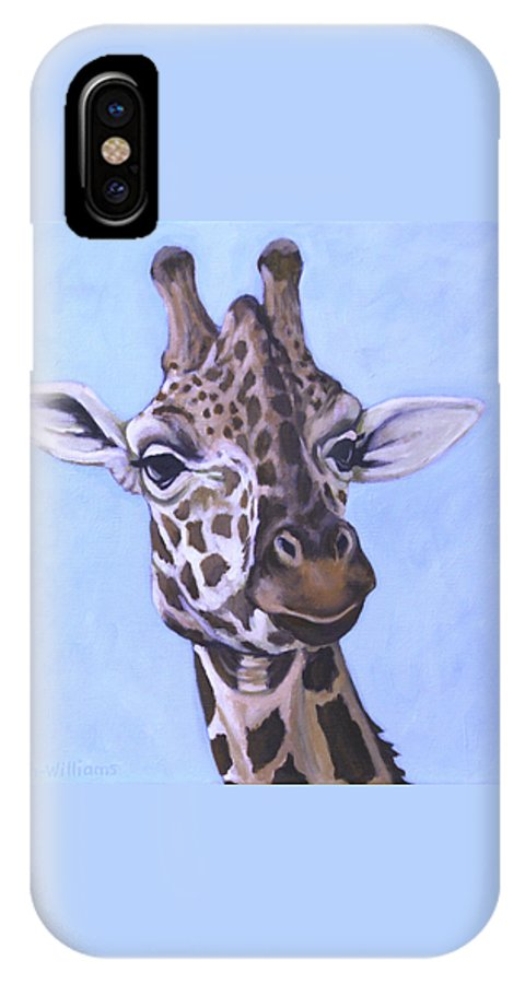 Giraffe Face IPhone X Case featuring the painting Giraffe Eye To Eye by Penny Birch-Williams